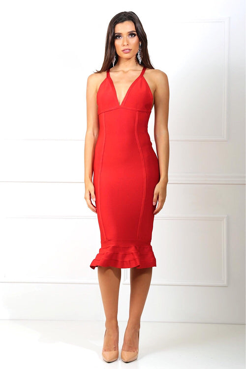Penelope Red Fishtail Bandage Dress