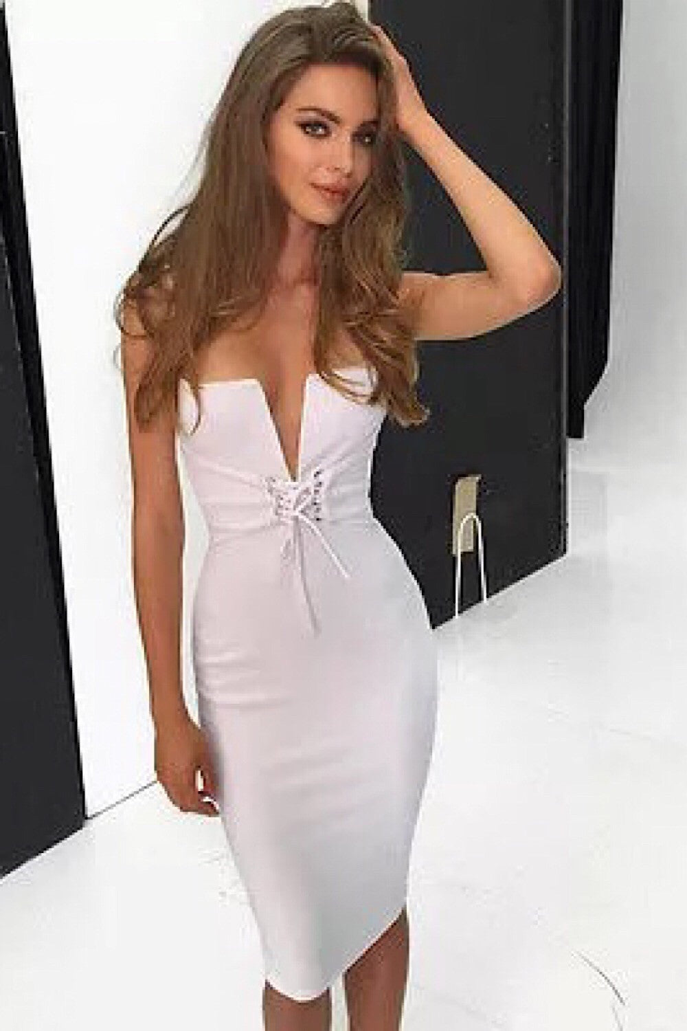 Sue White Tie Up Bandage Dress