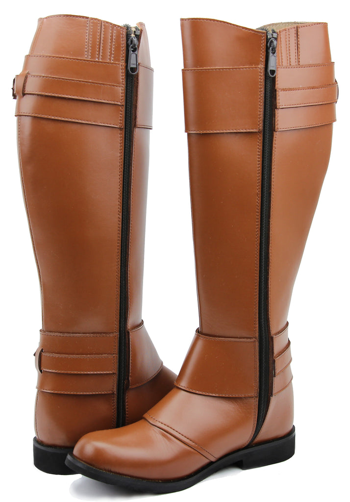 FAMMZ Women Ladies Desire Fashion Stylish Motorcycle Riding Leather Tall Knee High Boots
