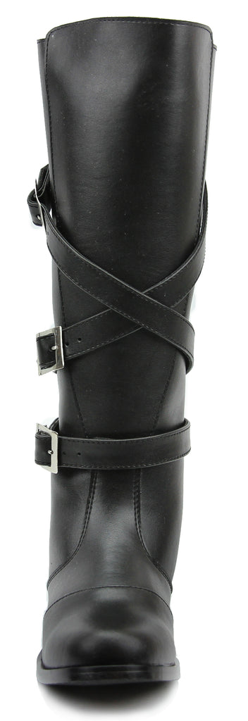 FAMMZ Men's Man GARDENA Fashion Stylish Motorcycle Riding Leather Tall Knee High Boots