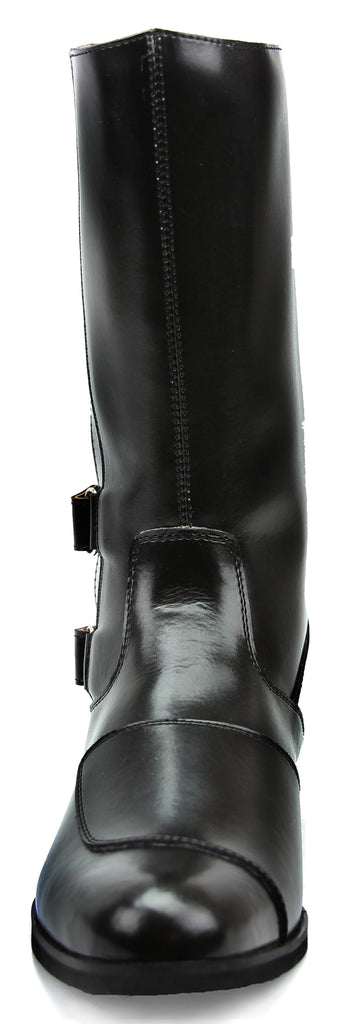 FAMMZ Phoenix Women Ladies Mid Calf Motorcycle Riding Police Genuine Leather Boots