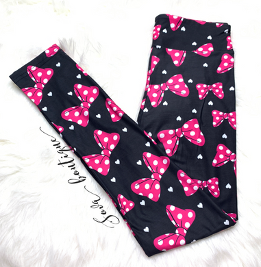 Custom Designed Pink Bow Leggings