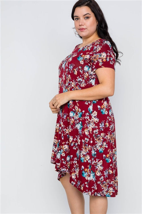 Burgundy Floral Dress | LOVE IN