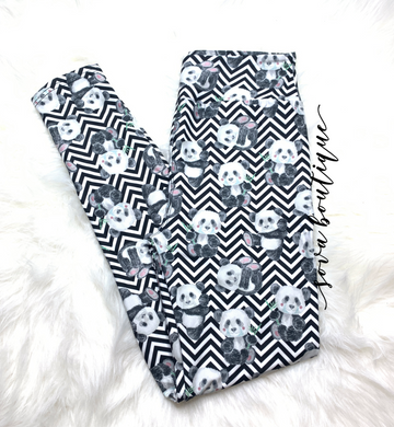 Custom Designed Panda Chevron Pattern Leggings