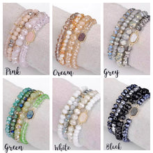 Druzy and crystal stretch bracelets
