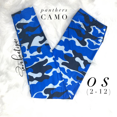Custom Designed Blue Black Camouflage Leggings