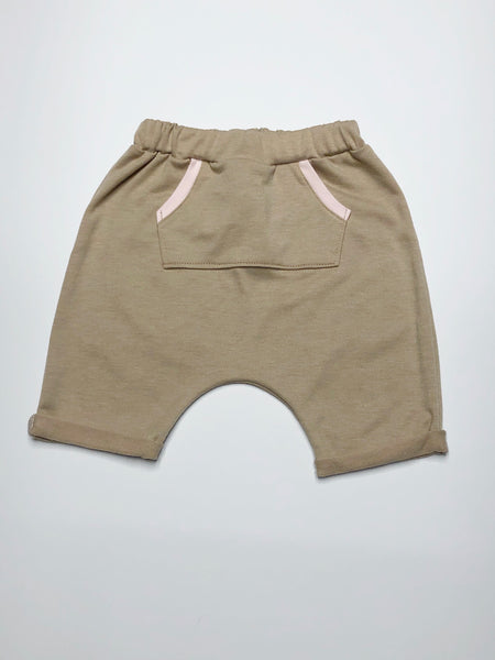 Natural French Terry Harem Shorts