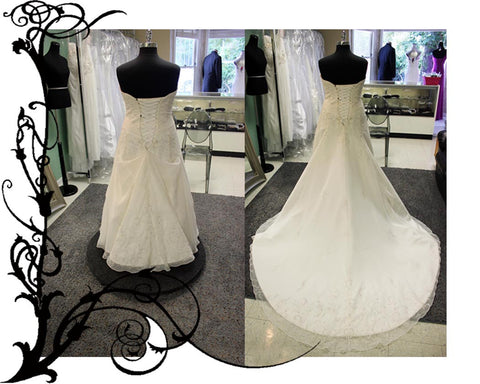A-line wedding gown bustle