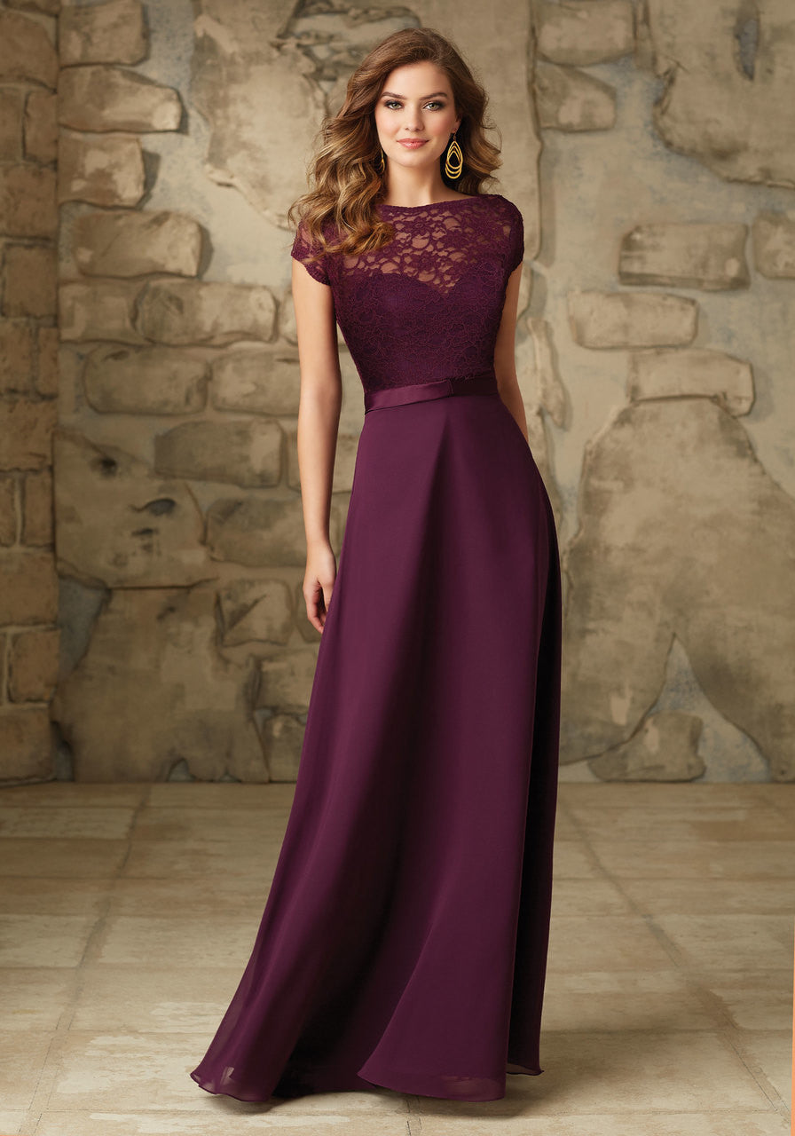 090 Satin and Chiffon Bridesmaid Dress with Removable Lace Bateau Jacket