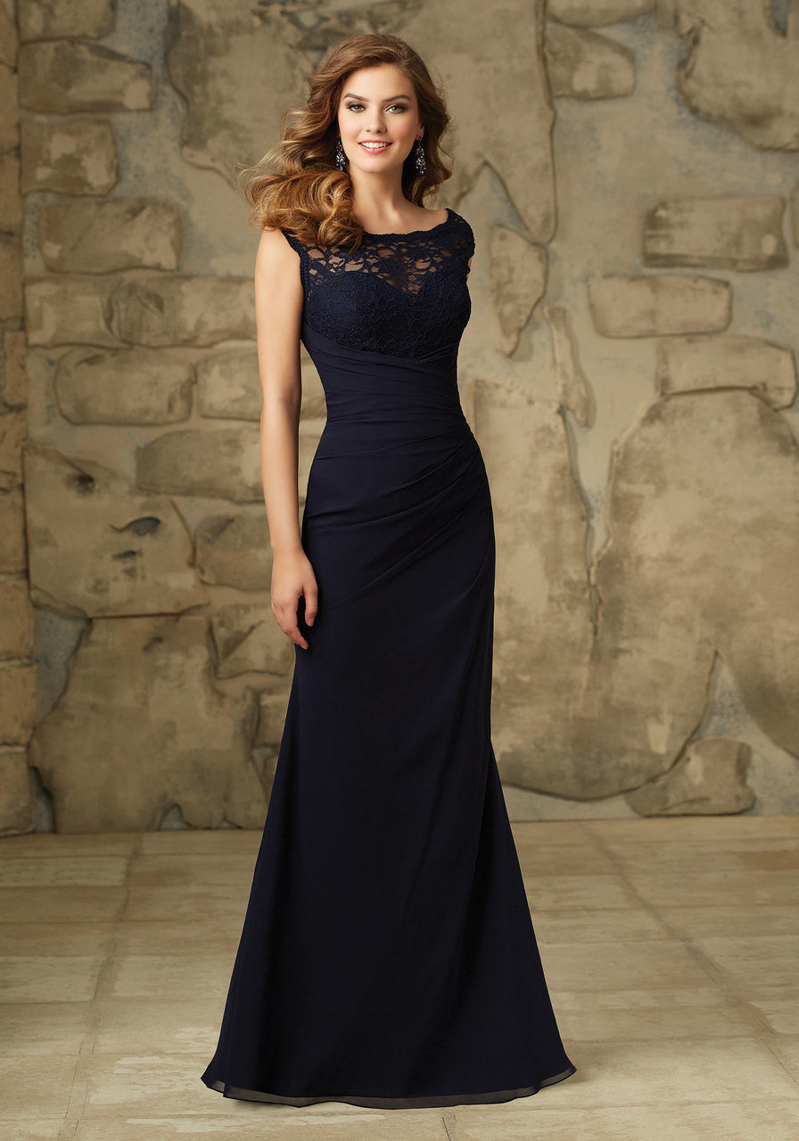 Lace and chiffon bridesmaid dress with side ruching and a back zip 094 lace and chiffon bridesmaid dress with side ruching and a back zipper ombrellifo Gallery
