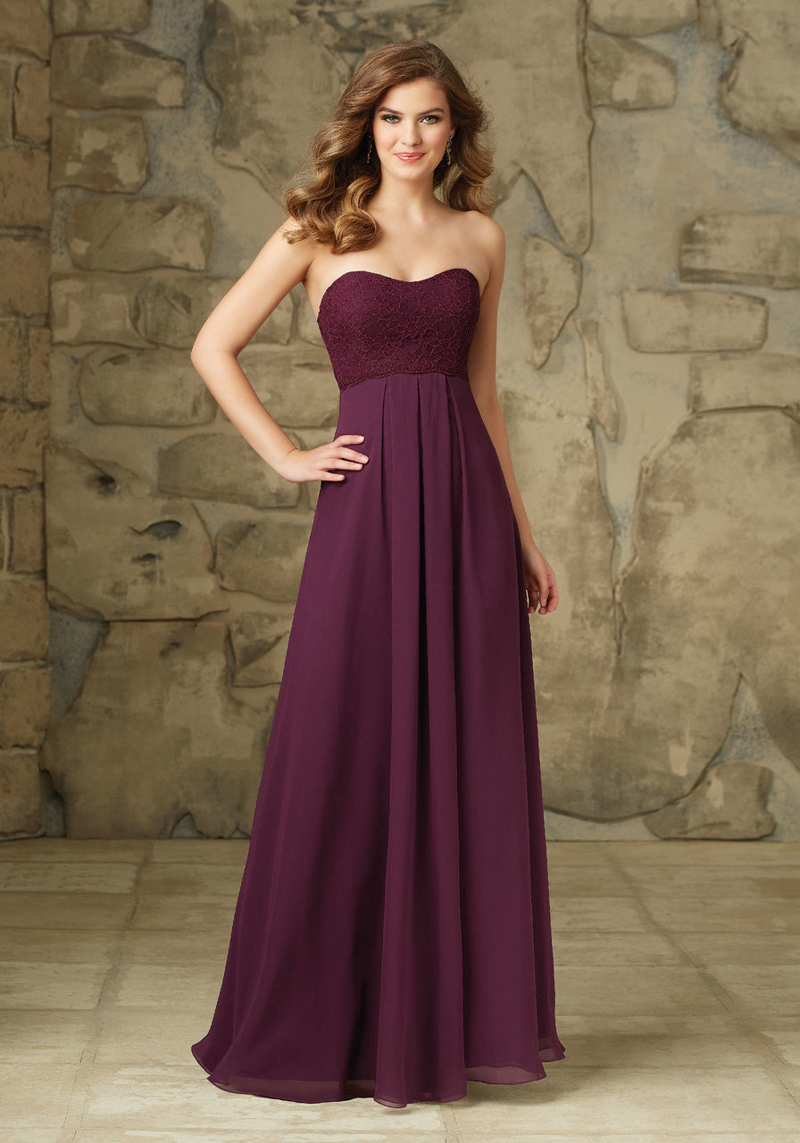 096 Strapless Lace and Chiffon Bridesmaids Dress