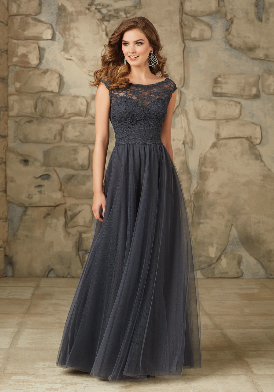 000 Lace and Tulle Bridesmaids Dress with Cap Sleeves and a V Back