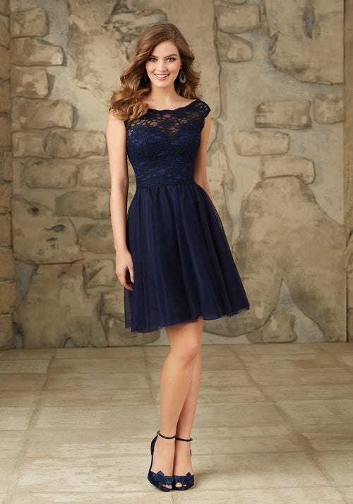 00099 Lace and Tulle Short Bridesmaids Dress with Cap Sleeves