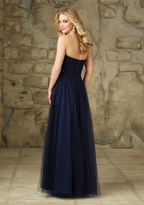 001 Tulle Bridesmaids Dress with Sweetheart Neckline