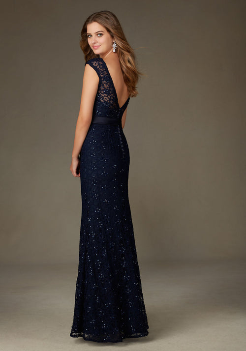 010 Beaded Lace Trumpet Bridesmaids Dress with an Illusion Neckline and a Satin Sash