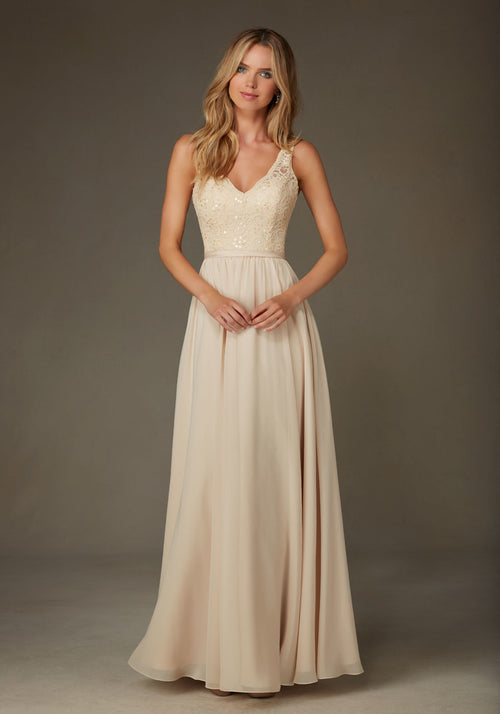 011 Romantic Lace Top Bridesmaid Dress with Illusion Straps and a Chiffon Skirt