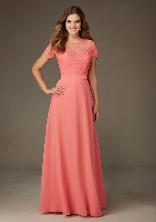 013 Lace and Chiffon Bridesmaid Dress with an Illusion Neckline and Lace Sleeves