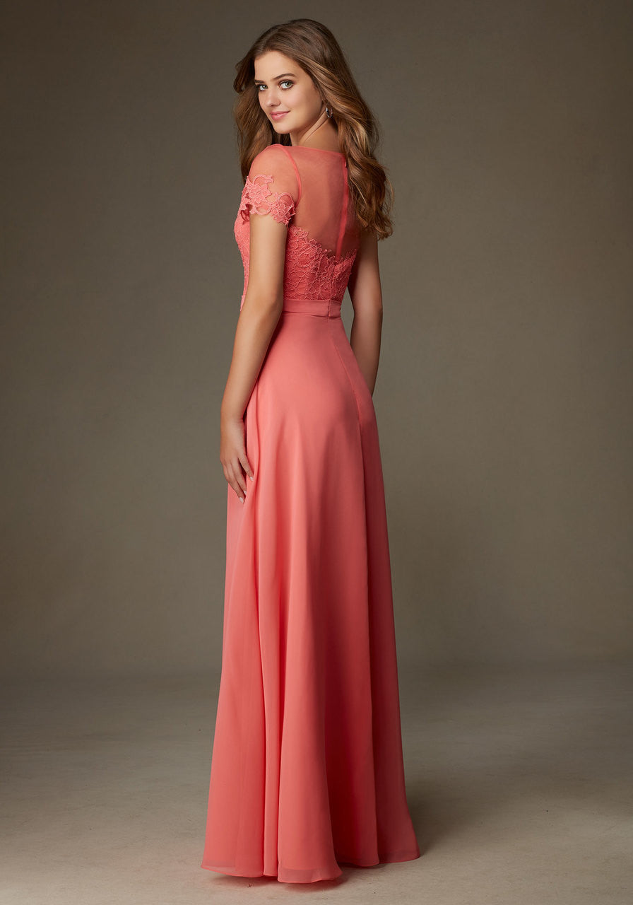 Lace and chiffon bridesmaid dress with an illusion neckline and la 013 lace and chiffon bridesmaid dress with an illusion neckline and lace sleeves ombrellifo Choice Image