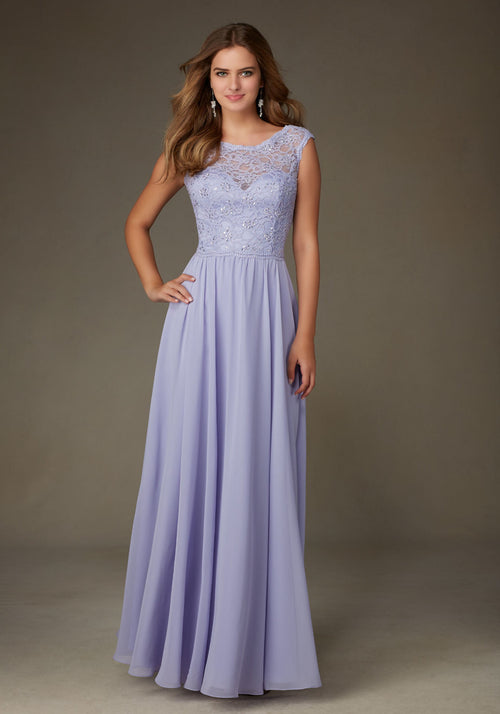 014 Lace Bodice with Illusion Neckline and Chiffon Skirt