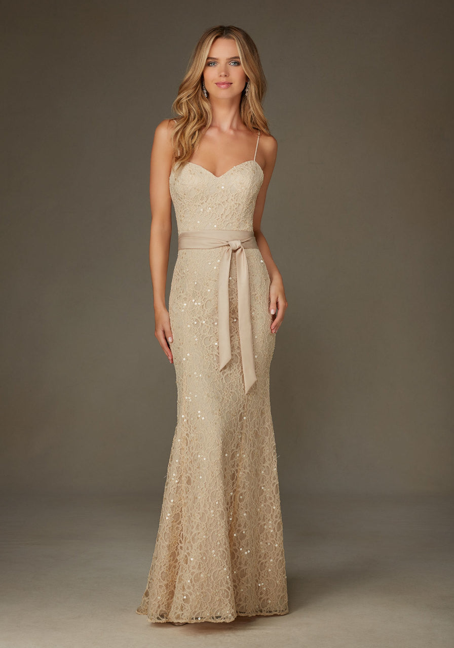 016 Beaded Lace Trumpet Bridesmaids Dress with Satin Sash and Spaghetti Straps