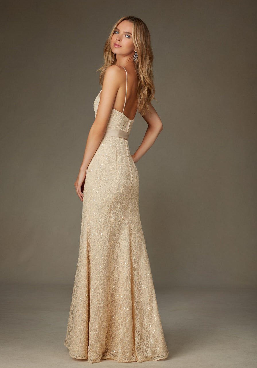 Beaded lace trumpet bridesmaids dress with satin sash and spaghett 016 beaded lace trumpet bridesmaids dress with satin sash and spaghetti straps ombrellifo Image collections