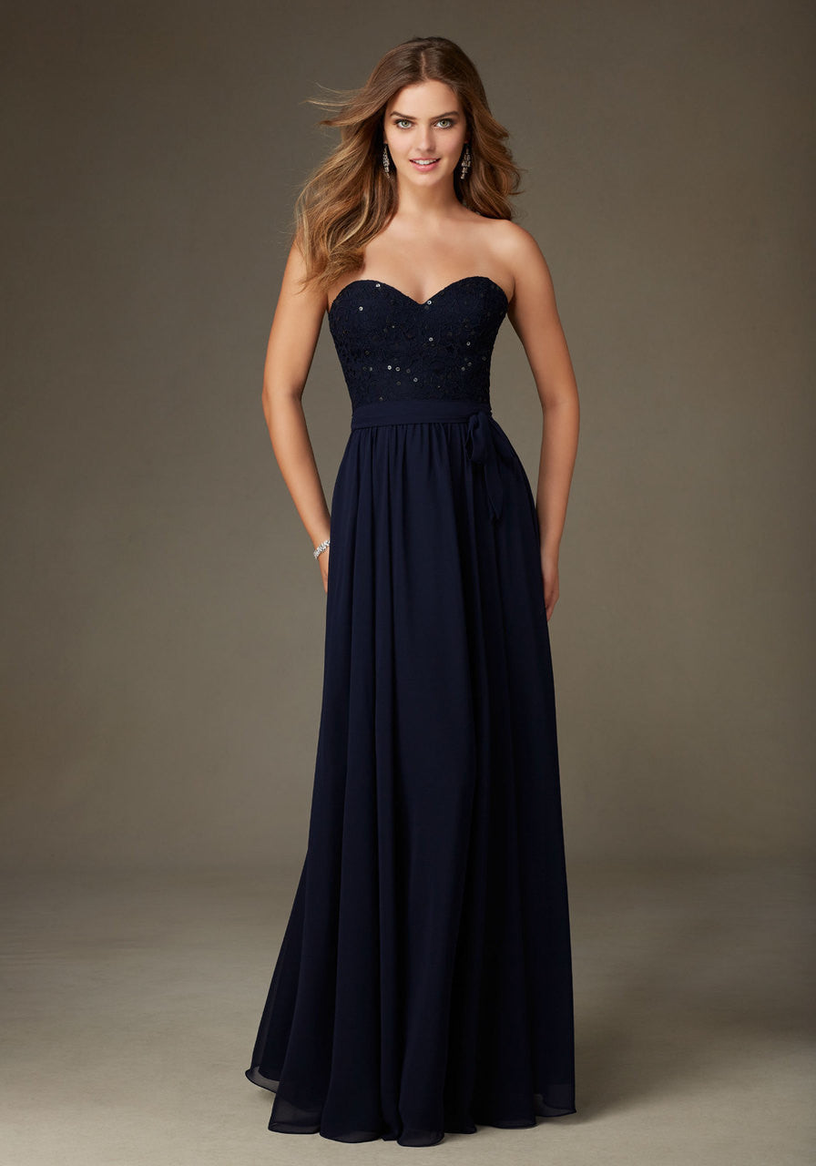 017 Strapless Bridesmaids Dress with Beaded Lace Bodice and Chiffon Skirt