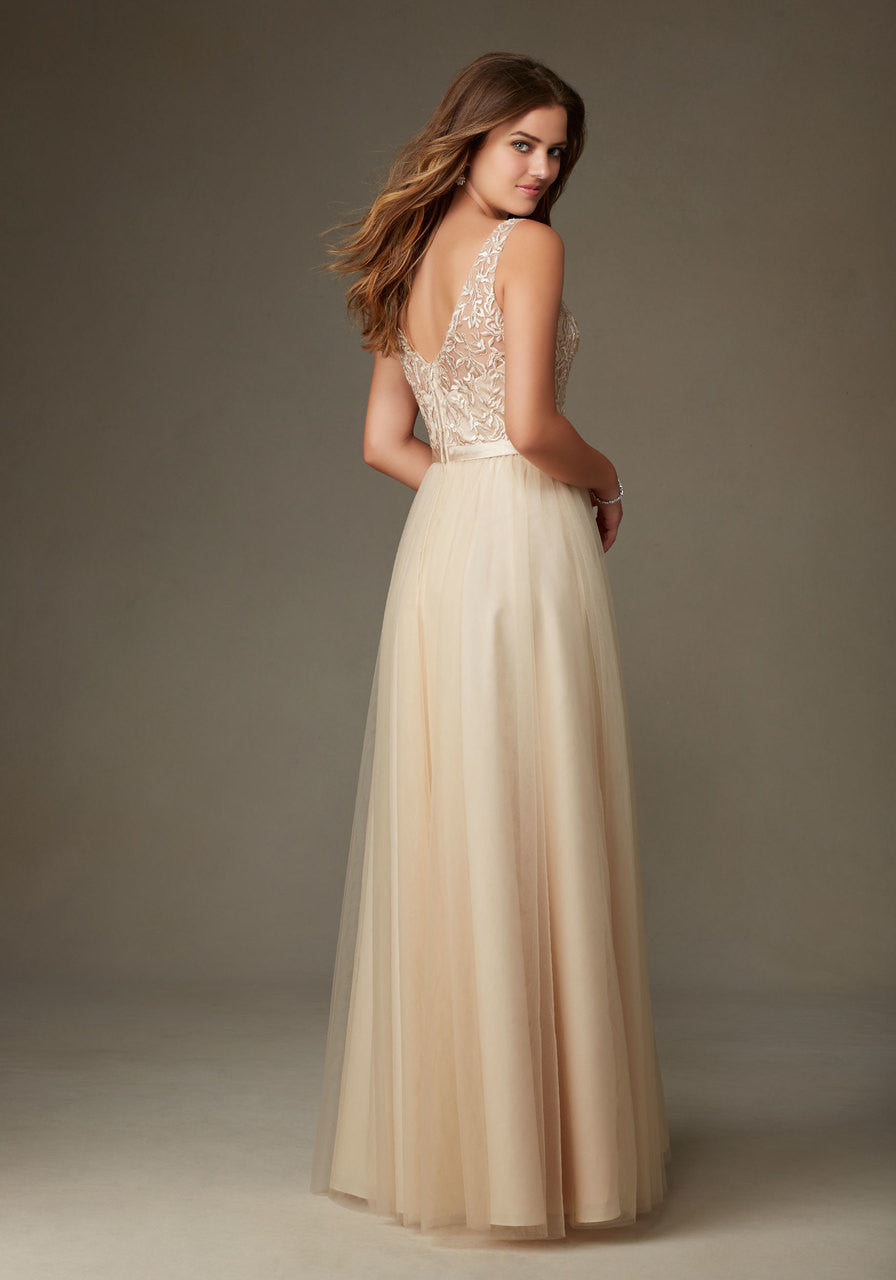 023 Embroidered and Beaded Bodice with V Neck and Illusion Straps and a Long Tulle Skirt