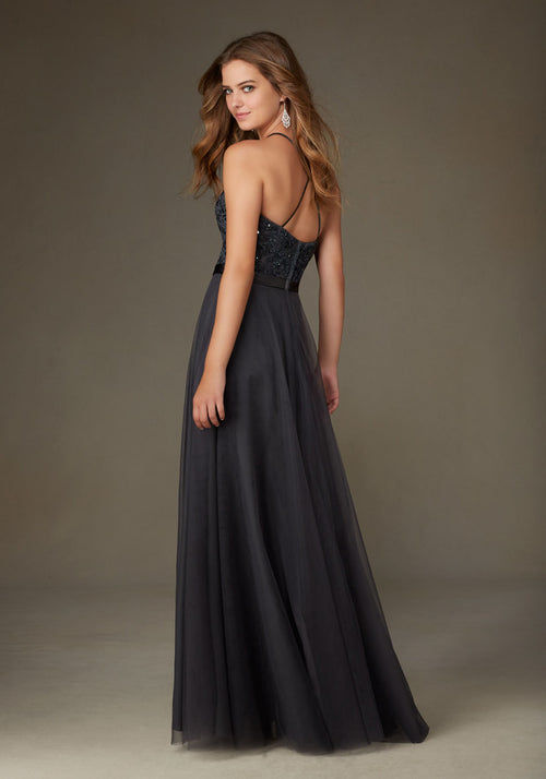 025 High Neck Bridesmaids Dress with Embroidered and Beaded Bodice with Long Tulle Skirt and Crisscross Back