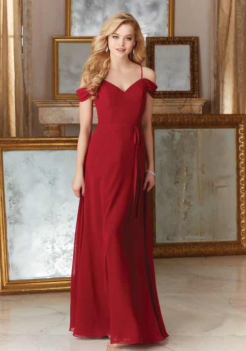 030 Chiffon Bridesmaids Dress with Off the Shoulder and Spaghetti Straps