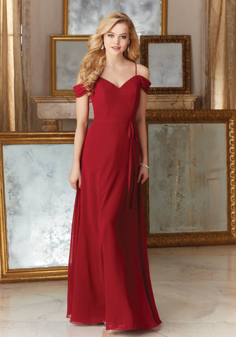 035 Beaded Lace and Chiffon with Spaghetti Strap and Detail at the Neckline