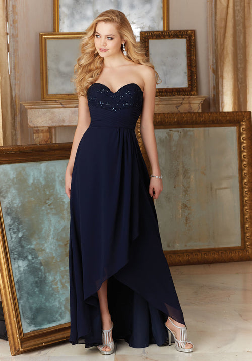 031 Chiffon and Lace Strapless High Low Bridesmaids Dress with Beading