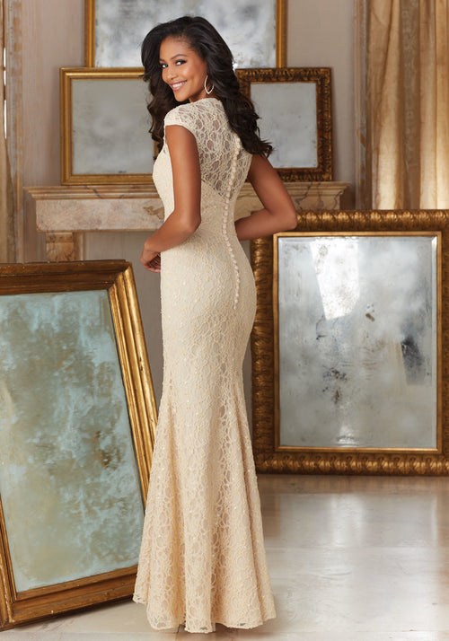 032 Lace Bridesmaids Dress with Beading and Cap Sleeves