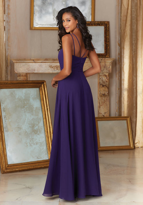 033 Chiffon Bridesmaids Dress with Spaghetti Straps and Matching Tie Sash