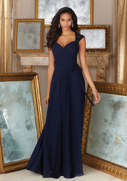 034 Chiffon Bridesmaids Dress with a Sweetheart Neckline and Lace Cap Sleeves