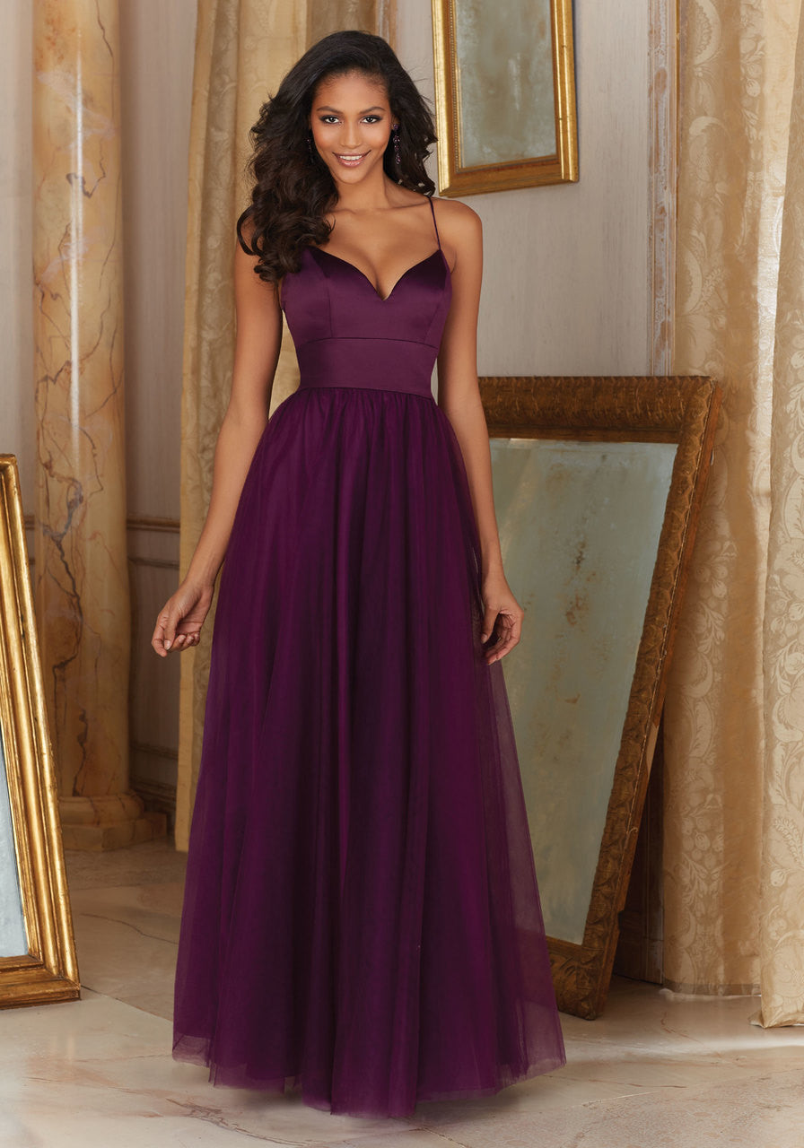 042 Long Bridesmaids Dress with Spaghetti Straps and a Satin Bodice with a Tulle Skirt