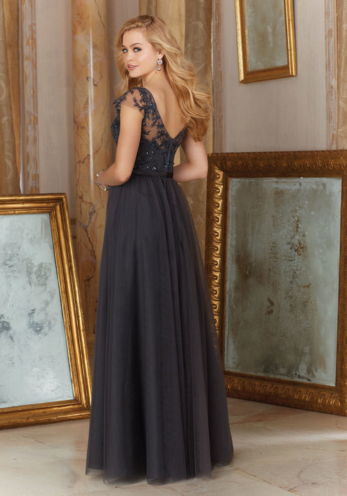 043 Long Bridesmaids Dress with a V Neck and Cap Sleeves with a Tulle Skirt and an Embroidered Bodice