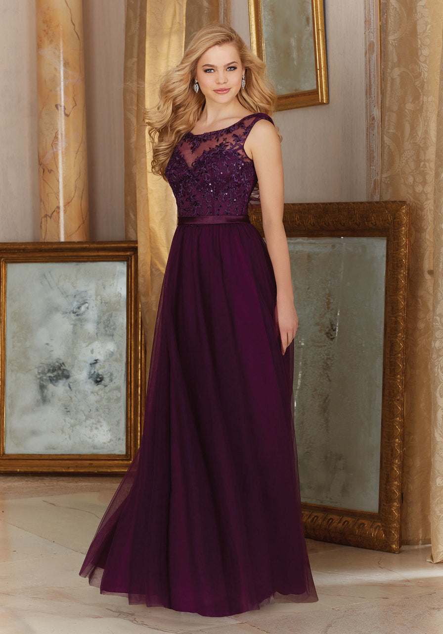 045 Long Bridesmaids Dress with Illusion Neckline and a Tulle Skirt with an Embroidered Bodice and Satin Waistband