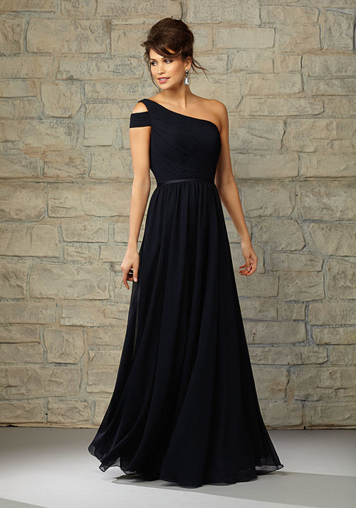 1da50cae7db 19344 Long Luxe Chiffon Bridesmaids Dress with Split One Shoulder