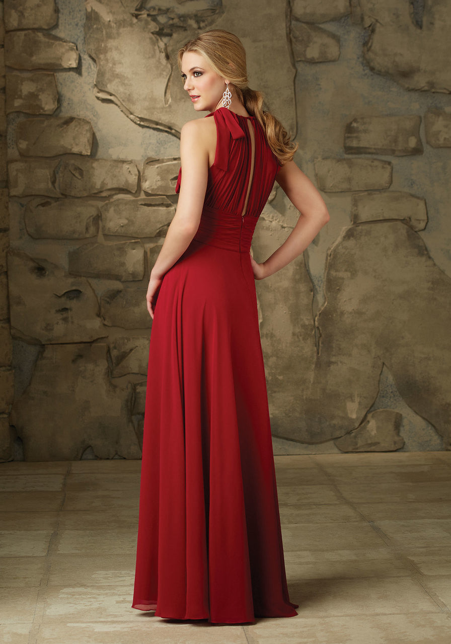 19352 Long Luxe Chiffon Bridesmaids Dress with High Neck