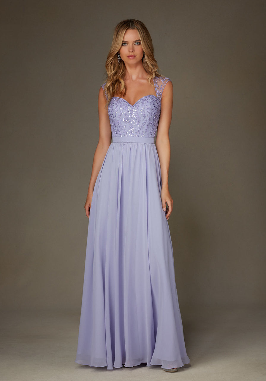 19362 Beaded Chiffon Bodice with Keyhole Back and Chiffon Skirt