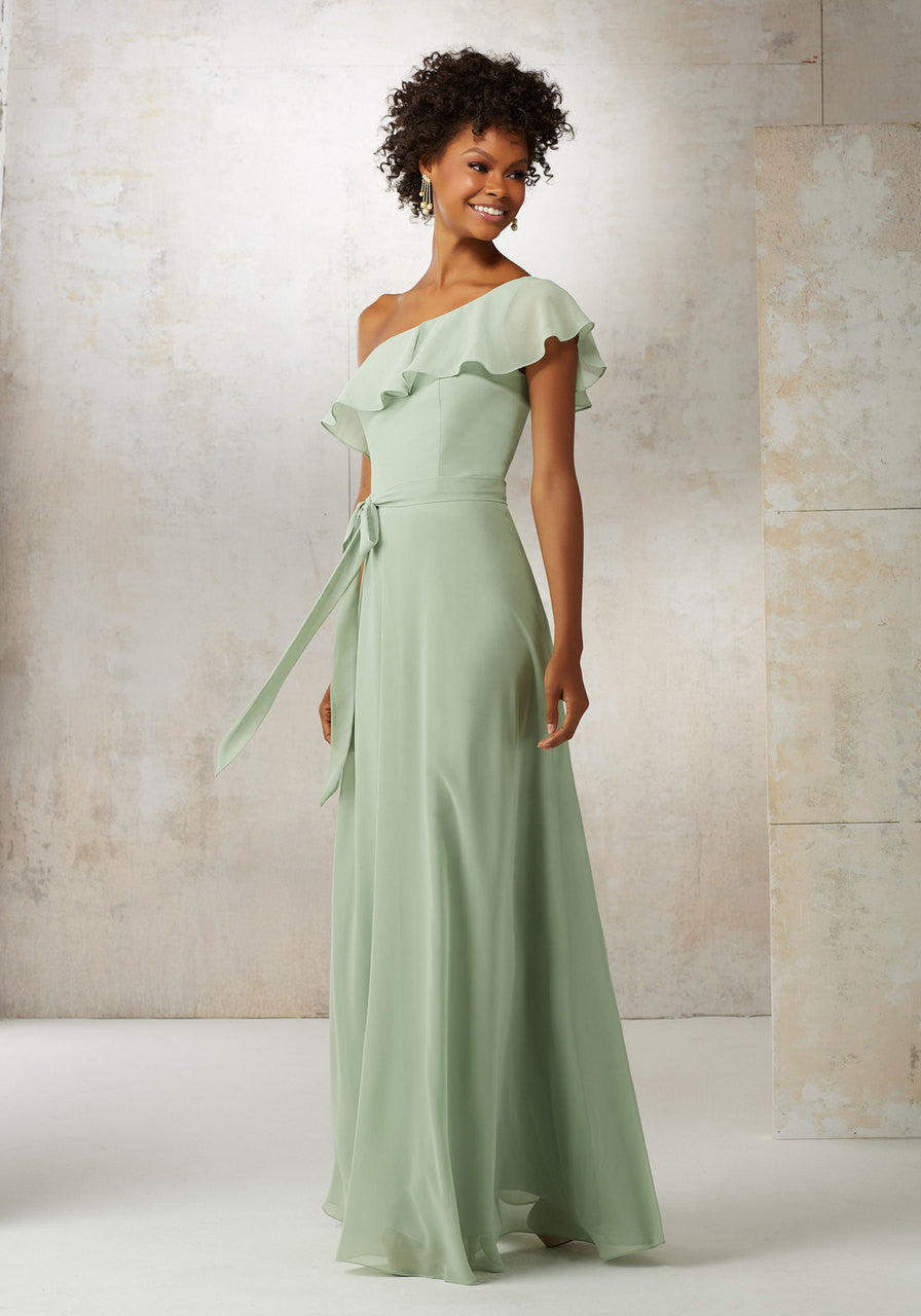 10492 Chiffon Bridesmaids Dress with Matching Tie Sash
