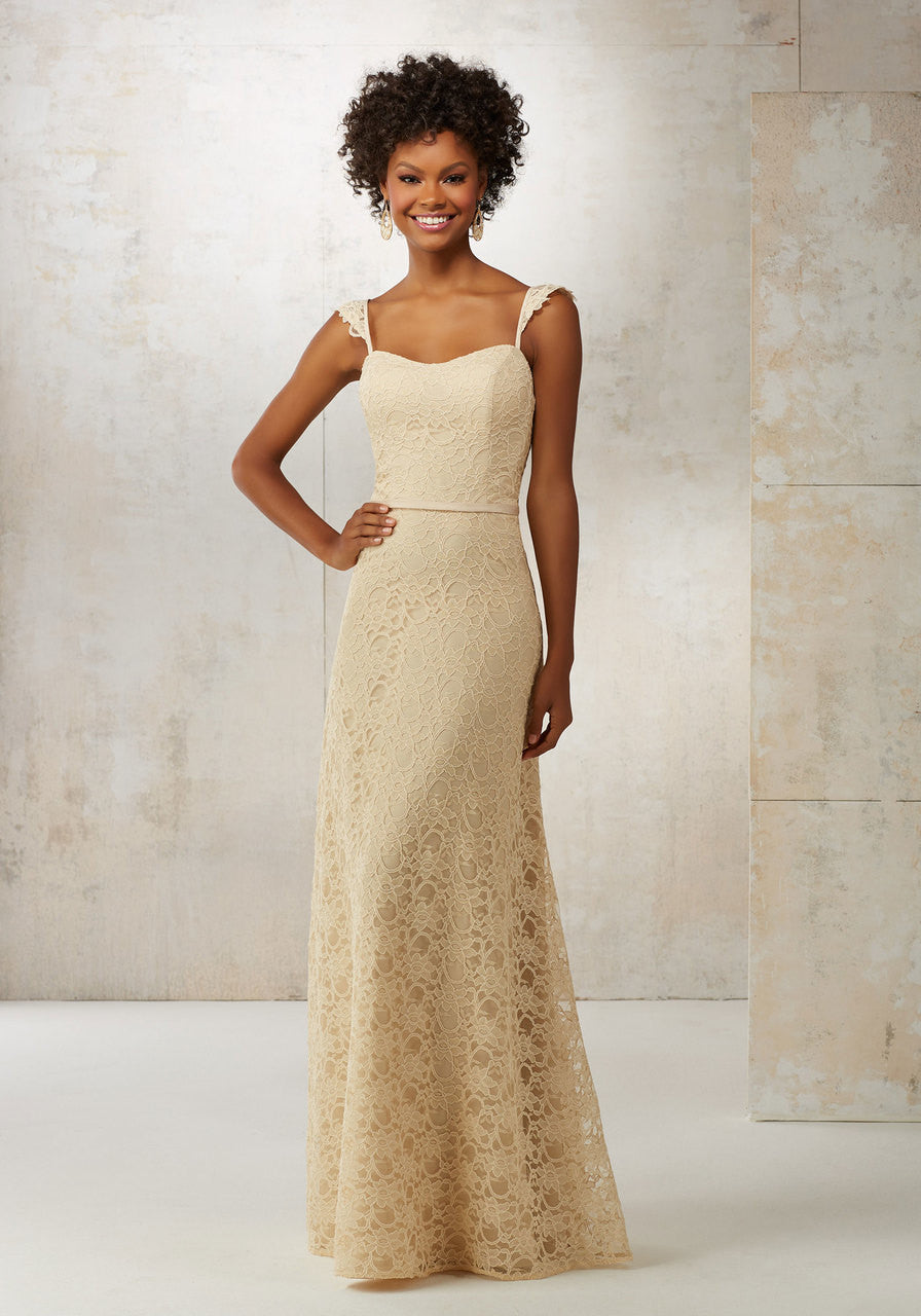 10494 Lace A-Line Bridesmaids Dress with Satin Waistband