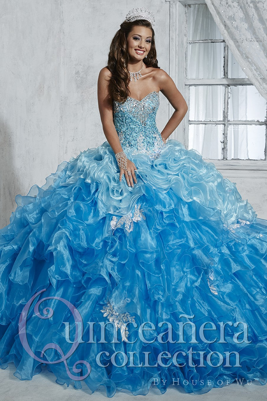 26785 Ombre Organza Quinceañera Dress