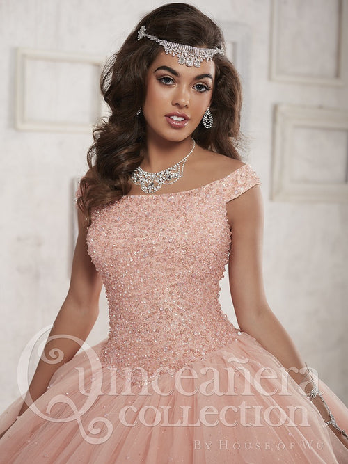 26844 Beautiful Tulle Quinceañera Ball Gown with Portrait Neckline