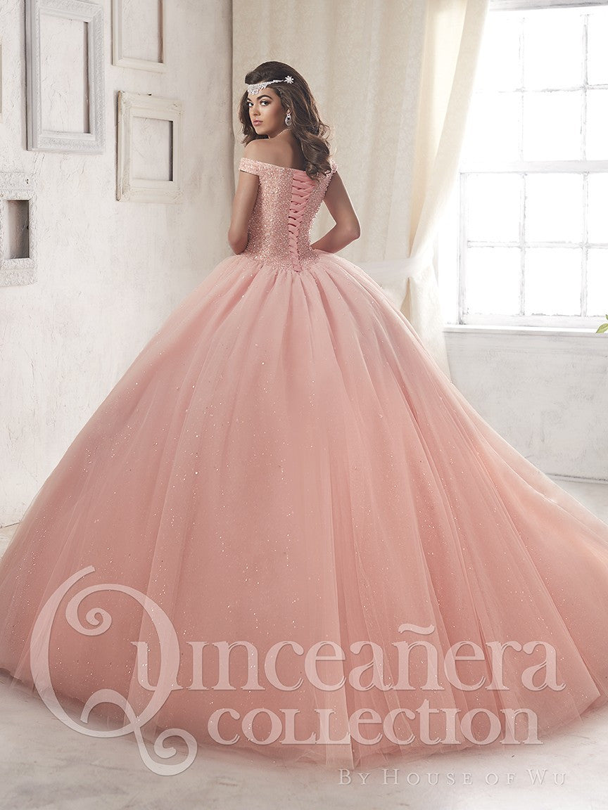 Beautiful Tulle Quinceañera Ball Gown with Portrait Neckline ...