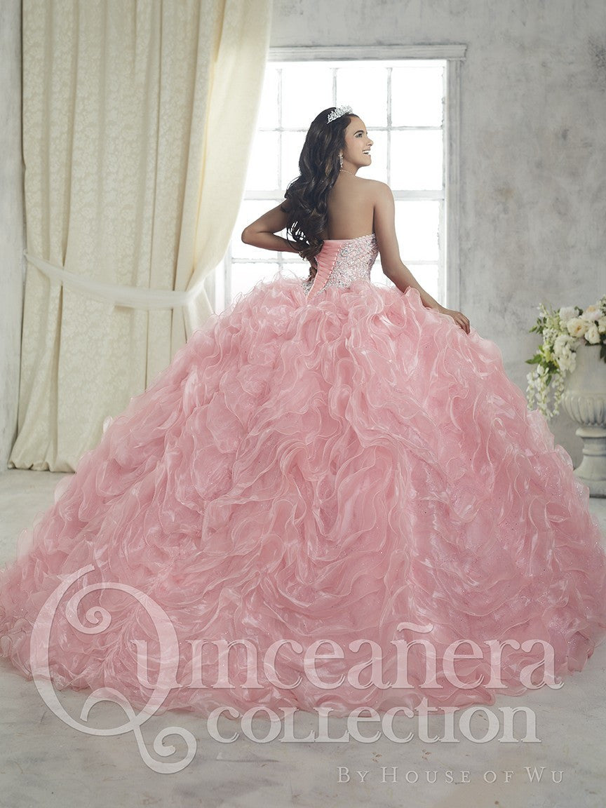 Strapless Sweetheart Quinceañera Ball Gown with Ruffled Organza ...