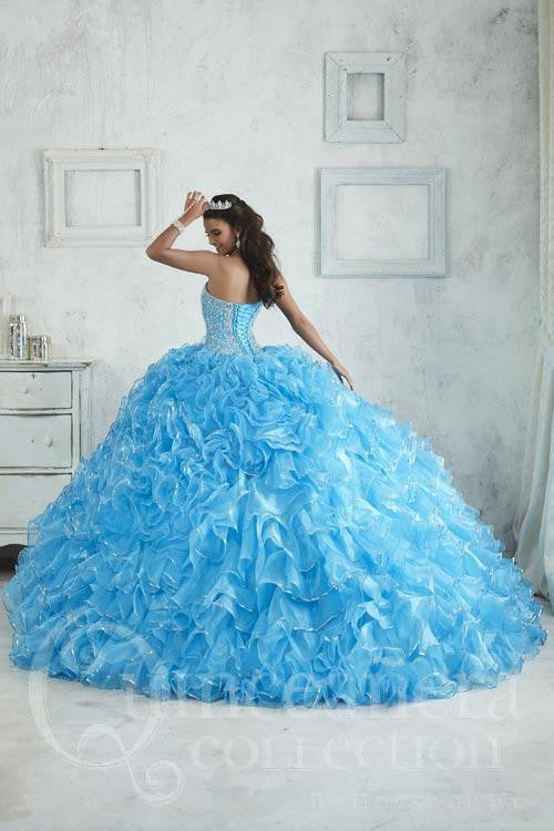 26850 Quinceañera Ball Gown with Ruffled Organza Skirt and Beaded Bodice