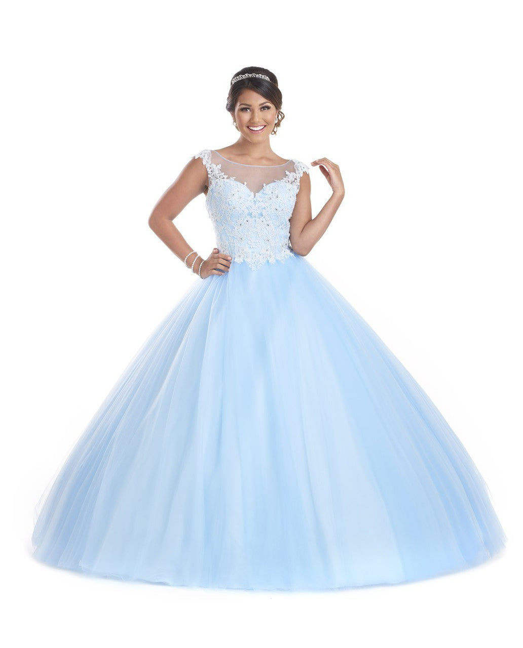 5603 Tulle cap sleeve illusion neckline with lace applique. Shawl included.