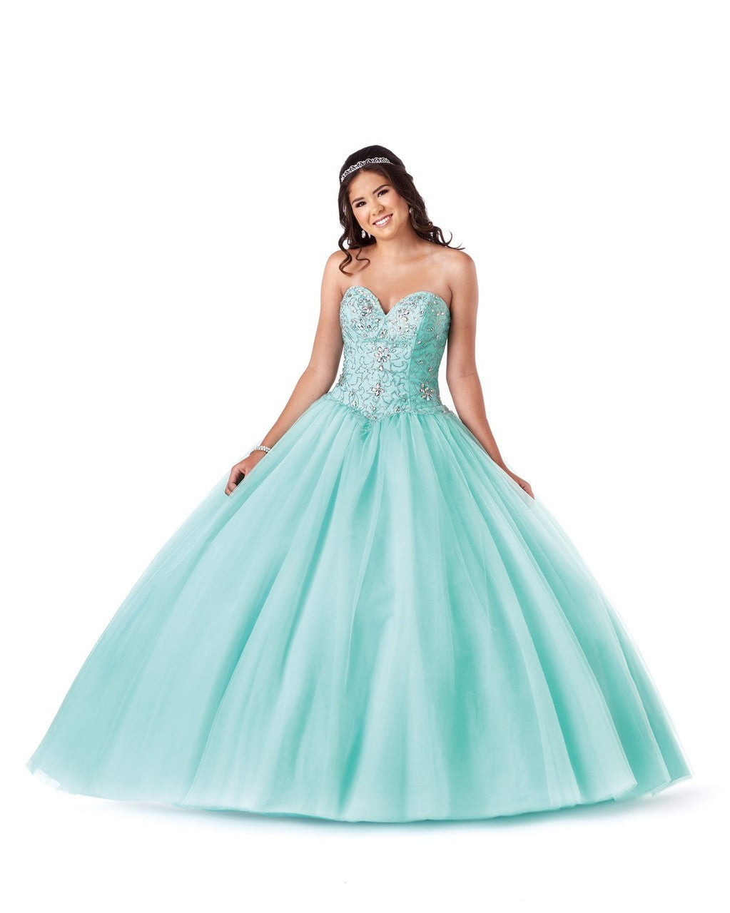 Full Tulle Quinceañera Ball Gown with Beaded Bodice and Sweethear ...