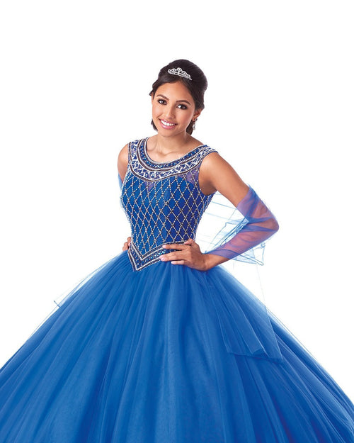 5701 Full Tulle Quinceañera Ball Gown with Scoop Neckline